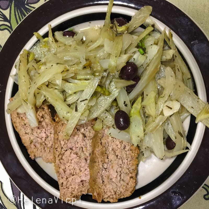 Meatloaf with sautéed fennel